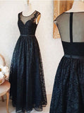Long Black Prom Dress,Lace Prom Dress,Lace Bridesmaid Dresses,PD00302