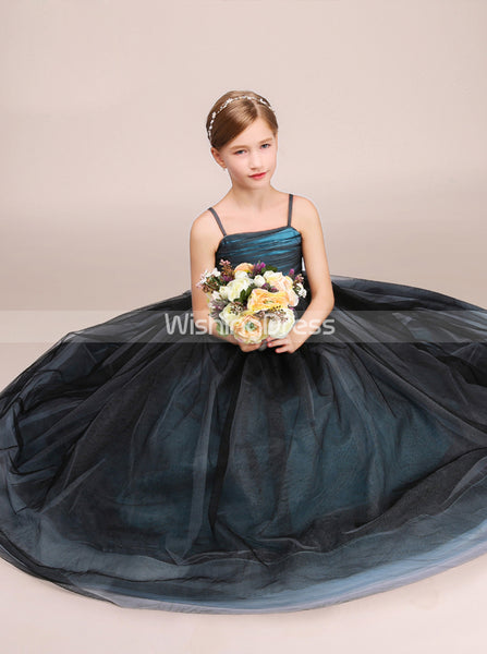 Long Junior Party Dress,Junior Bridesmaid Dress with Straps,Junior Ball Gown Dress,JB00028