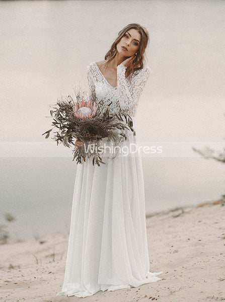 Long Simple Wedding Dress,Bridal Dress with Long Sleeves,WD00432