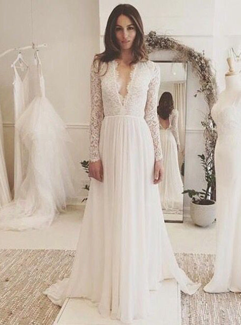 Lace Wedding Dress With Sleeves.Long Sleeves Wedding Dress Beach Wedding Dress Lace Chiffon Bridal Dress Wd00056