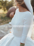 Long Train Wedding Dresses,Classic Wedding Dress with Sleeves,WD00452