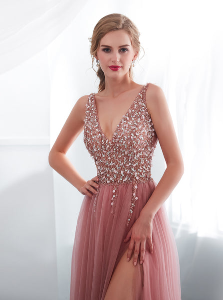 Long Tulle Prom Dress with Slit,Stunning Evening Dress,PD00408