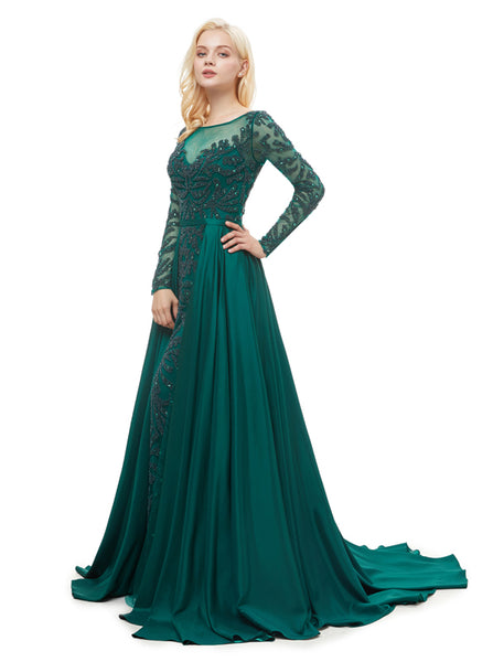 Luxury Prom Dresses with Sleeves,Sparkly Prom Dress with Overskirt,PD00378