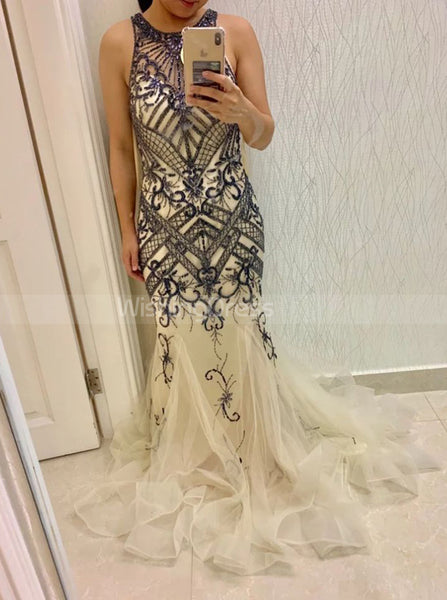 Mermaid Beaded Prom Dresses,Tulle Long Evening Dress,PD00377