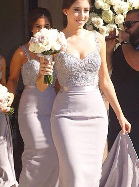 Mermaid Bridesmaid Dress,Satin Long Bridesmaid Dress,Bridesmaid Dress with Straps,BD00011