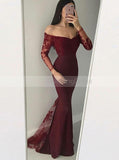 Mermaid Lace Prom Dress,Elegant Off the Shoulder Evening Dress,Prom Dress with Long Sleeves PD00034