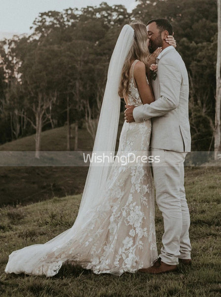 Mermaid Lace Wedding Dresses,Outdoor Wedding Dress,WD00450