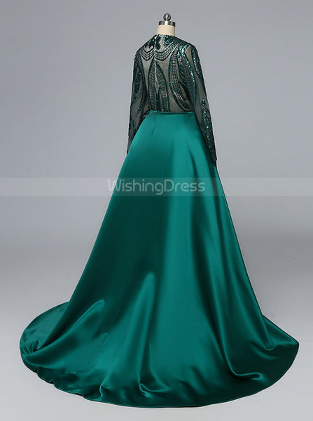 Mermaid Prom Dress with Detachable Overskirt,Long Sleeves Prom Dress,Vogue Prom Dress,PD00432