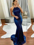 Mermaid Royal Blue Prom Dress,Elastic Satin Evening Dress with Train,Lace Up Evening Dress PD00179