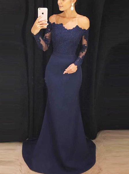 Mermaid Tight Prom Dress,Off the Shoulder Evening Dress with Sleeves,Vogue Prom Dress PD00056