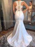 Mermaid Tight Wedding Dresses,Illusion Bridal Gown,Satin Wedding Dress,WD00357