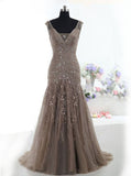 Mermaid Tulle Prom Dress,Beaded Long Prom Dress,Prom Dress with Lace Up Back PD00010