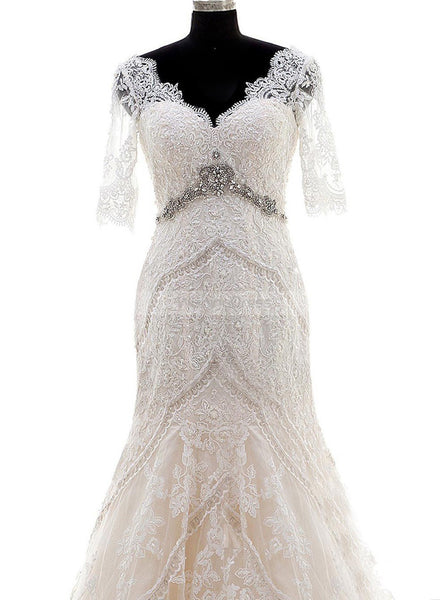 Mermaid Wedding Dress,Wedding Dresses with Sleeves,Vintage Wedding Dresses,WD00103