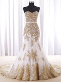 Mermaid Wedding Dresses,Classic Wedding Dress,Lace Strapless Bridal Dress,WD00076
