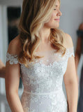 Mermaid Wedding Dresses,Off the Shoulder Wedding Gown,Floral Wedding Dress,WD00061