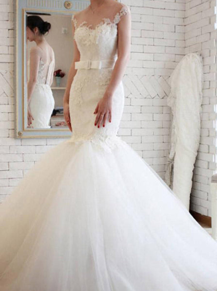 Mermaid Wedding Dresses,Tulle Wedding Gown,White Bridal Dress,Romantic Wedding Dress,WD00191