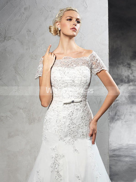 Mermaid Wedding Dresses,Wedding Dress with Sleeves,Lace Bridal Dress,WD00289
