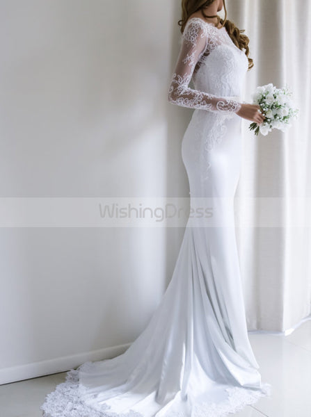 Mermaid Wedding Dresses,Wedding Dress with Sleeves,Modest Wedding Dress,WD00091