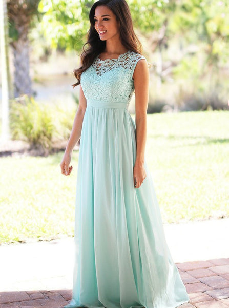 Mint Green Bridesmaid Dress,Long Elegant Bridesmaid Dress,Chiffon Bridesmaid Dress,BD00133