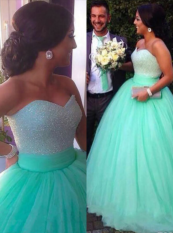 Mint Green Plus Size Prom Gowns,Tulle Plus Size Prom Gown,Sweetheart Plus  Size Gowns,PD00326