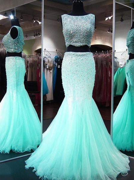 Mint Green Prom Dress,Two Piece Prom Dress,Beaded Prom Dress,Mermaid Prom Dress PD00192