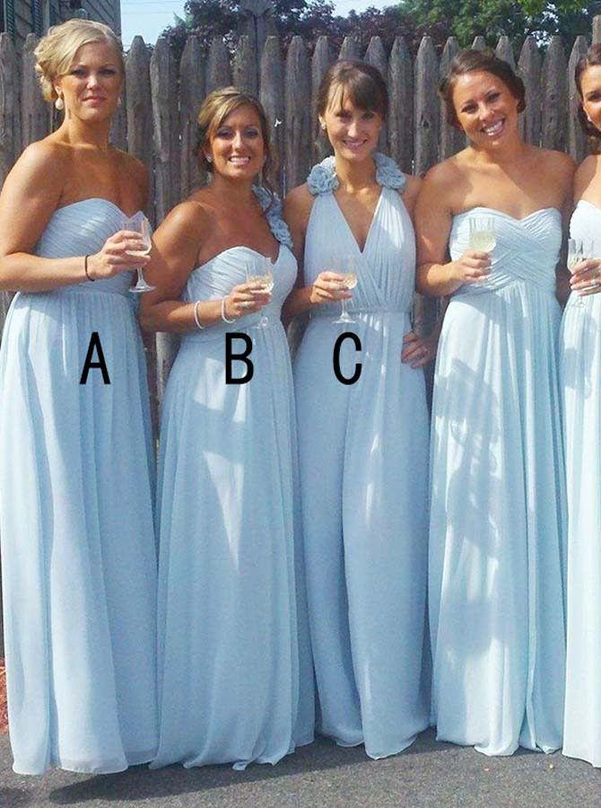 Mismatched Bridesmaid Dress Chiffon Long Bridesmaid Dress Floral Bride Wishingdress