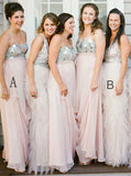 Mismatched Bridesmaid Dress,Chiffon Tulle Bridesmaid Dress,Long Bridesmaid Dress,BD00081