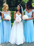 Mismatched Bridesmaid Dress,Light Blue Bridesmaid Dress,Chiffon Long Bridesmaid Dress,BD00108