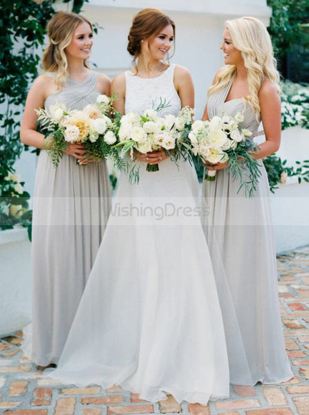 Mismatched Bridesmaid Dress,Long Chiffon Bridesmaid Dress,Ruched Bridesmaid Dress,BD00061