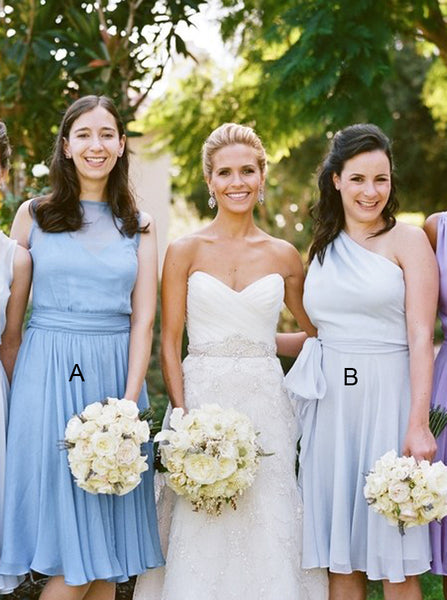 Mismatched Bridesmaid Dress,Short Bridesmaid Dress,Chiffon Bridesmaid Dress,BD00186