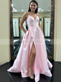 Modest A-line Satin Evening Dress with Pockets,Spaghetti Straps Long Prom Dress with Slit PD00147