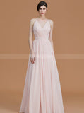 Modest Bridesmaid Dresses,Chiffon Bridesmaid Dress,Long Bridesmaid Dress with Straps,BD00253