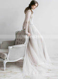 Modest High Neck Wedding Dress,Long Sleeves Lace and Tulle Wedding Dress,WD00509