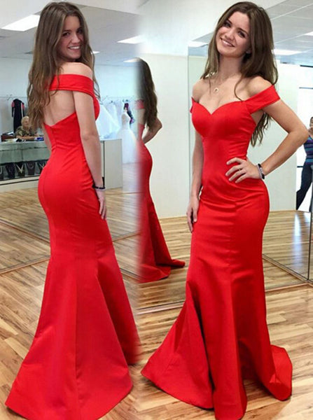 Modest Mermaid Evening Dress,Satin Long Prom Dress,Off the Shoulder Evening Dress PD00079