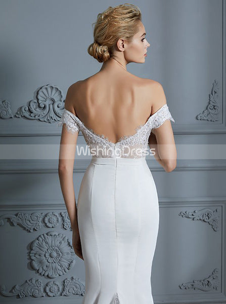 Modest Wedding Dresses,Mermaid Wedding Dress,Off the Shoulder Wedding Dress,WD00300