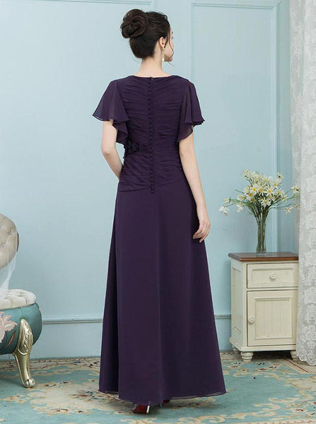 Mother of the Bride Dresses with Sleeves,Dark Purple Mother Dress,Youthful Mother Dress,MD00006