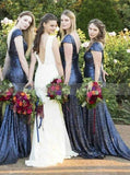 Navy Blue Fitted Bridesmaid Dress with Short Sleeves,Sequined Bridesmaid Dress,BD00153