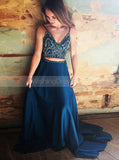 Navy Blue Two Piece Prom Dress,Beaded Top Prom Dress,Long Evening Dress Chiffon PD00107