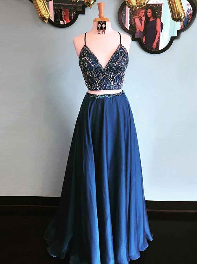 7b09ccd82d Navy Blue Two Piece Prom Dress