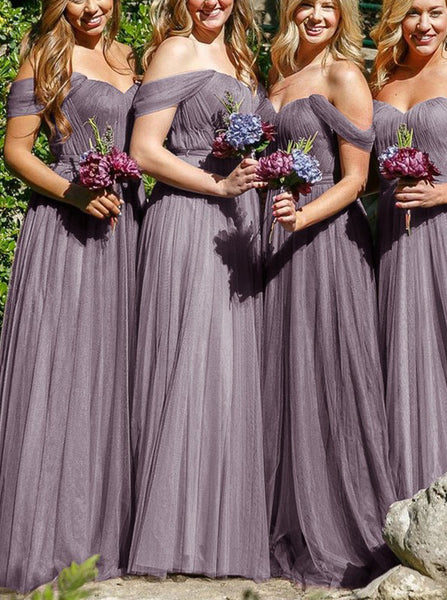 Off the Shoulder Bridesmaid Dress,Tulle Bridesmaid Dress,Modest Long Bridesmaid Dress,BD00033