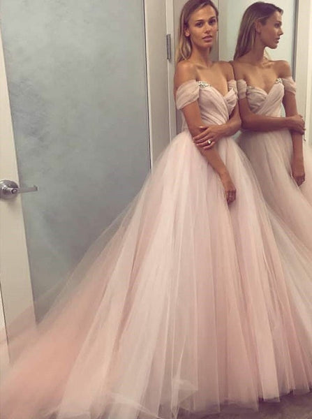 Off the Shoulder Prom Dresses,Princess Prom Dress,Tulle Prom Dress,PD00266