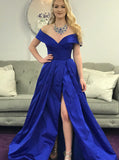 Off the Shoulder Prom Dresses,Taffeta Prom Dress,Prom Dress with Slit,PD00257