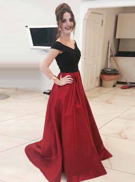 Off the Shoulder Prom Dresses,Two Tone Prom Dress,A-line Prom Dress,PD00280