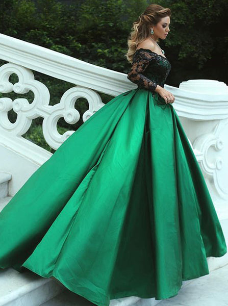 Off the Shoulder Prom Gown with Sleeves,Ball Gown Satin Prom Dress,PD00368