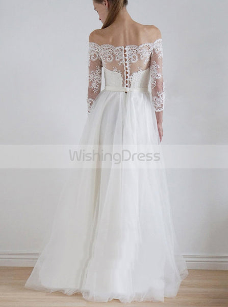 Off the Shoulder Wedding Dresses,Boho Wedding Dress,Casual Bridal Dress,Beach Bridal Dress,WD00088