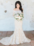 Off The Shoulder Wedding Dresses,Lace Wedding Dress,Long Sleeves Wedding Dress,WD00111