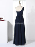 One Shoulder Bridesmaid Dresses,Dark Navy Bridesmaid Dress,Modest Bridesmaid Dress,BD00321