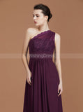 One Shoulder Bridesmaid Dresses,Grape Bridesmaid Dress,Long Bridesmaid Dress,BD00229