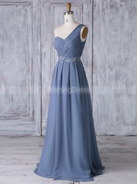 One Shoulder Bridesmaid Dresses,Long Bridesmaid Dress,BD00364