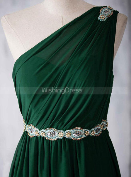 One Shoulder Chiffon Bridesmaid Dresses,Elegant Bridesmaid Dress,BD00348